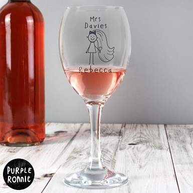 Personalised Purple Ronnie Bride Wine Glass