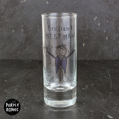 Personalised Purple Ronnie Wedding Male Shot Glass
