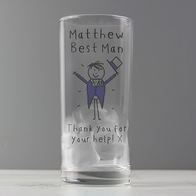 Personalised Purple Ronnie Wedding Male Hi Ball Glass