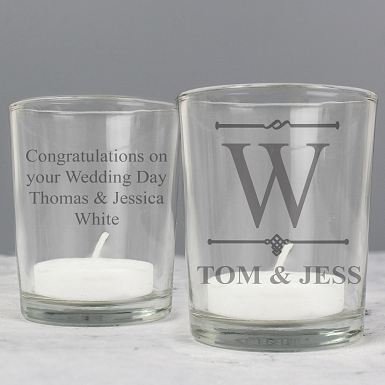 Personalised Decorative Initial Votive Candle Holder
