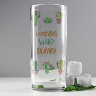 Personalised Cactus Hi Ball Glass