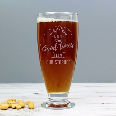 Personalised Let the Good Times Flow Craft Ale Beer Glass