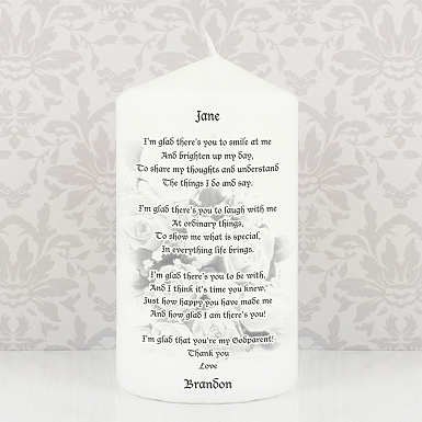 Personalised Godparent candle