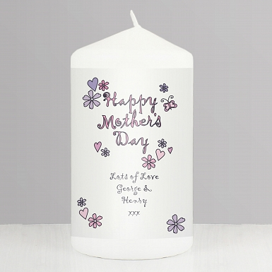 Flowers & Butterflies Happy Mothers Day Candle delivery to UK [United Kingdom]
