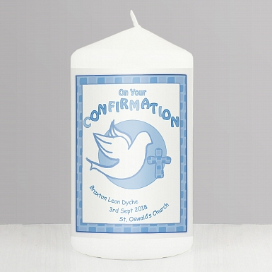Personalised Confirmation Candle Blue