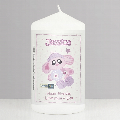 Personalised Cotton Zoo Bobbin the Bunny Candle