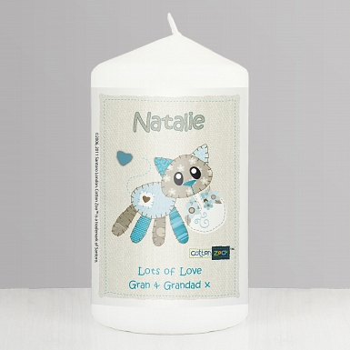 Personalised Cotton Zoo Calico the Kitten Candle
