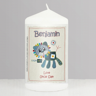 Personalised Cotton Zoo Denim the Lion Candle