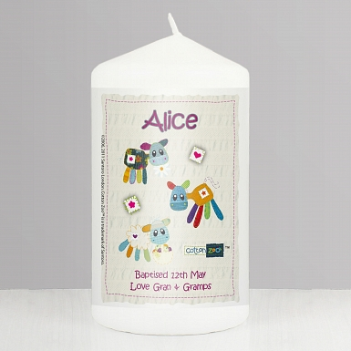 Personalised Cotton Zoo Girls Farm Animals Candle