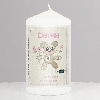 Personalised Cotton Zoo Pink Tweed the Bear Candle