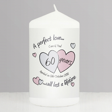 Personalised A Perfect Love Diamond Anniversary Candle