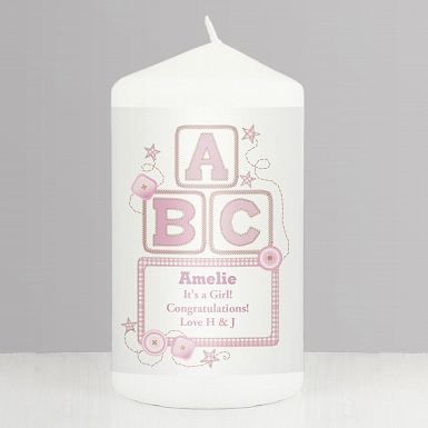 Personalised Pink ABC Candle