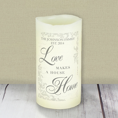 Personalised Love Makes a Home LED Candle