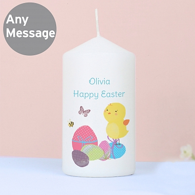 Personalised Easter Meadow chick Candle
