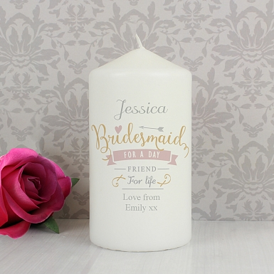 Personalised I Am Glad... Bridesmaid Candle