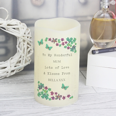 Personalised Forget Me Not LED Candle delivery to UK [United Kingdom]