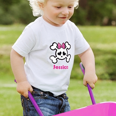 Personalised Girls Skull & Cross Bone Tshirt 3-4 years