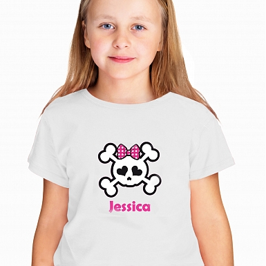 Personalised Girls Skull & Cross Bone Tshirt 5-6 years