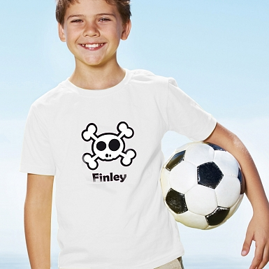 Personalised Boys Skull & Cross Bone Tshirt 5-6 years