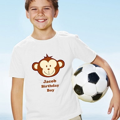Personalised Monkey Boy Tshirt 7-8 years