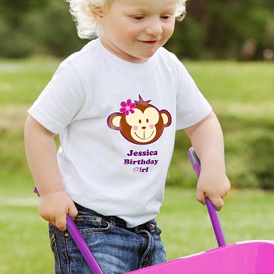 Personalised Monkey Girl Tshirt 3-4 years