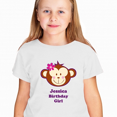 Personalised Monkey Girl Tshirt 7-8 years