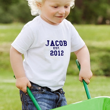 Personalised Established Blue Text Tshirt 3-4 years