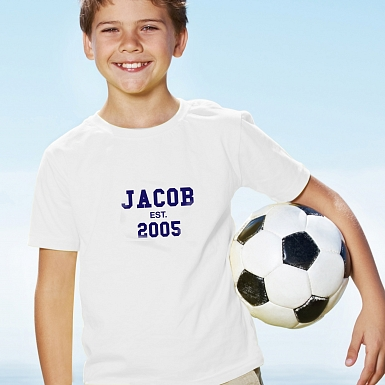 Personalised Established Blue Text Tshirt 7-8 years