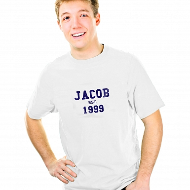 Personalised Established Blue Text Tshirt 14-15 years