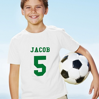 Personalised Green Name & Number T-shirt 5-6 Years