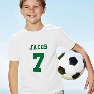 Personalised Green Name & Number T-shirt 7-8 Years