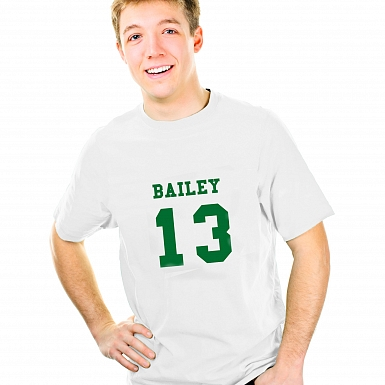 Personalised Green Name & Number T-shirt 12-13 Years