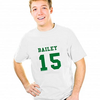 Personalised Green Name & Number T-shirt 14-15 Years