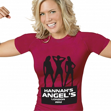 Personalised Angels Hen Do T-Shirt - Fuchsia Pink - Extra Large