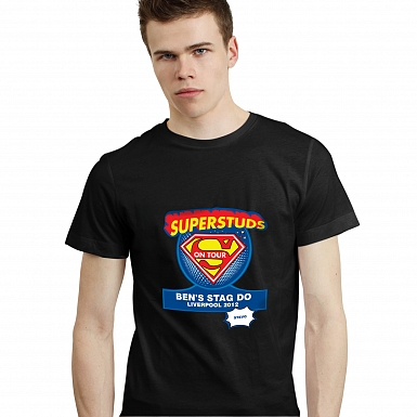 Personalised Superstuds Stag Do T-Shirt - Black - Small