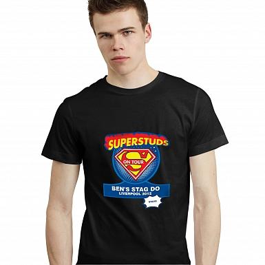 Personalised Superstuds Stag Do T-Shirt - Black - Medium