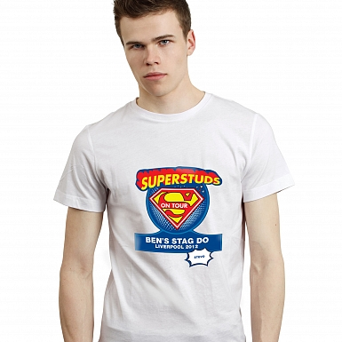 Personalised Superstuds Stag Do T-Shirt - White - Large