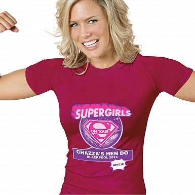 Personalised Supergirls Hen Do T-Shirt - Fuchsia Pink - Extra Large