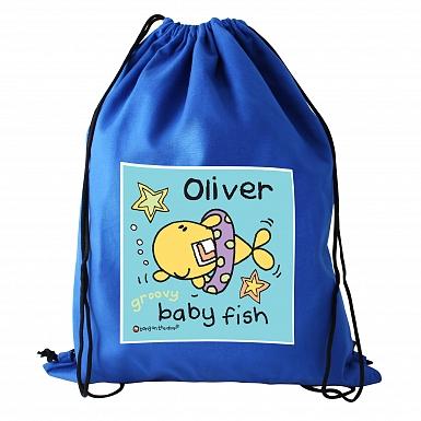 Personalised Bang On The Door Baby Fish Boys Swim & Kit Bag