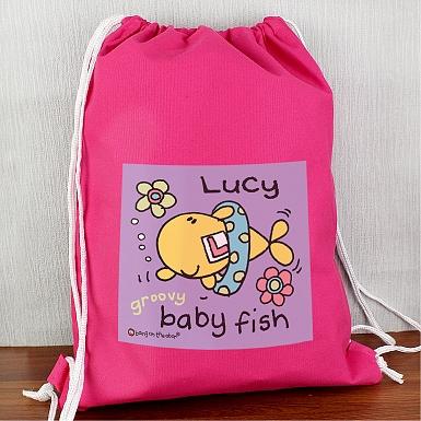 Personalised Bang On The Door Baby Fish Girls Swim & Kit bag