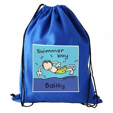 Personalised Bang On The Door Swimmer Boy Swim & Kit Bag
