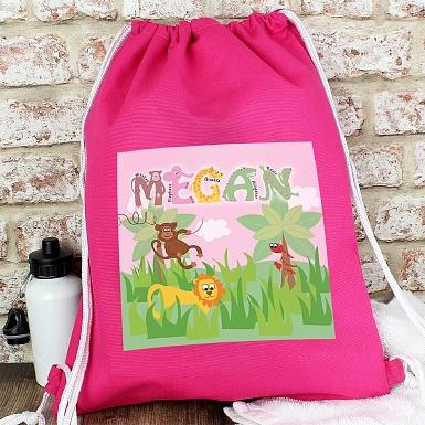 Personalised Animal Alphabet Girls Swim & Kit Bag