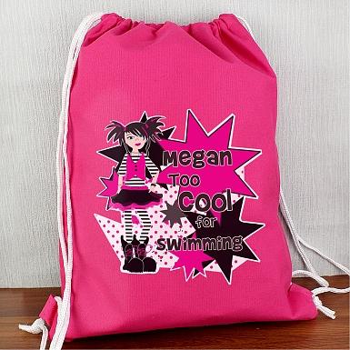 Personalised Girls Too Cool Swim & Kit Bag