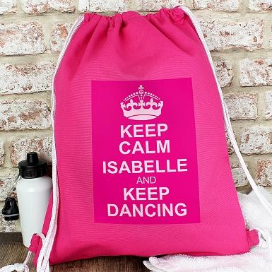 Personalised Pink Keep Calm Swim & Kit Bag