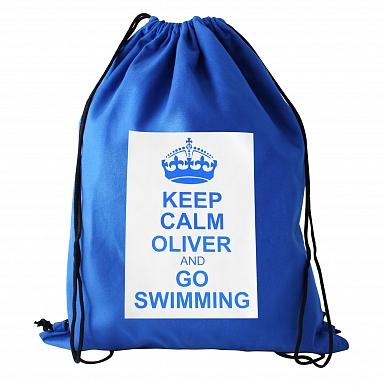 Personalised Blue Keep Calm Swim & Kit Bag