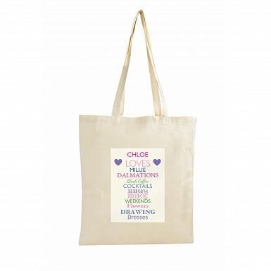 Personalised Top Ten Loves Cotton Bag