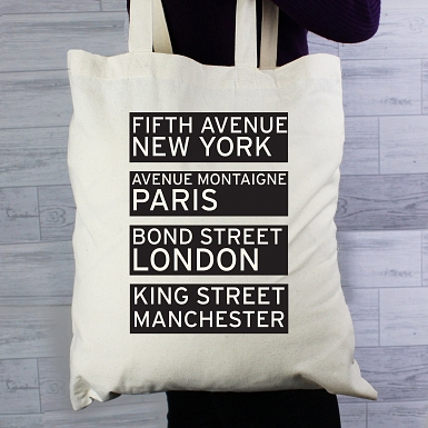 Personalised Shopping Destinations Cotton Bag