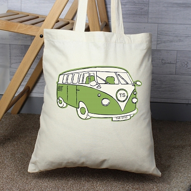 Personalised Green Campervan Cotton Bag