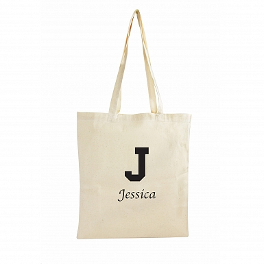 Personalised Black Initial Cotton Bag