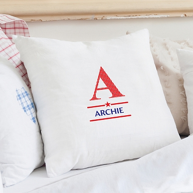 Personalised Boys Initial Cushion Cover